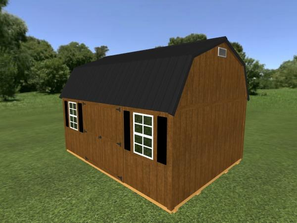 Lofted Garden Shed: 12' x 16'