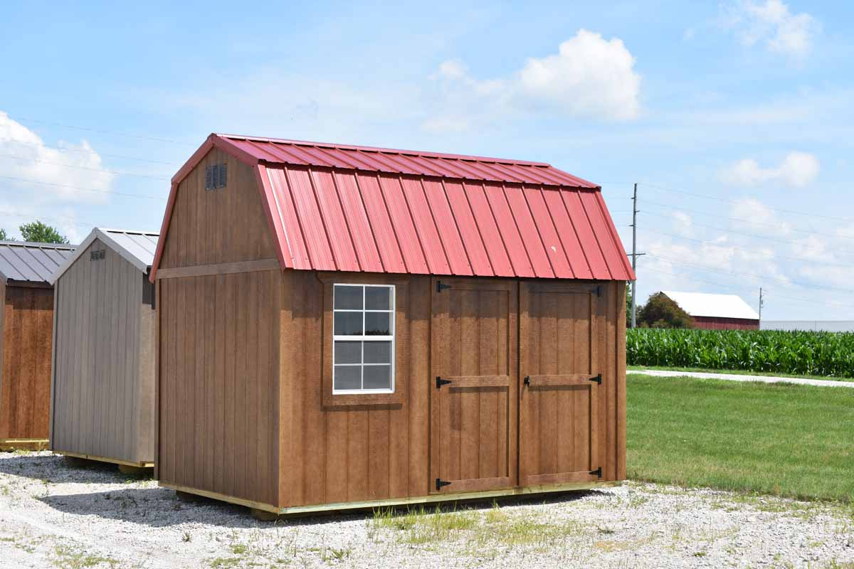 8x12 Lofted garden shed with chestnut brown urethane and rustic red metal roof