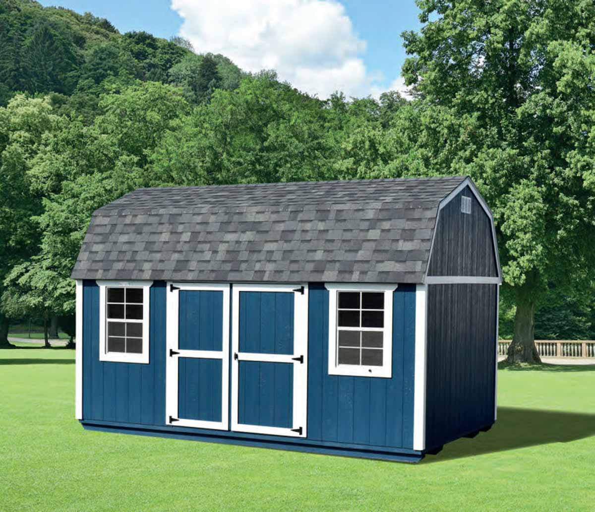 10x16 Lofted Garden Shed with Navy walls & White trim with Estate Gray shingles