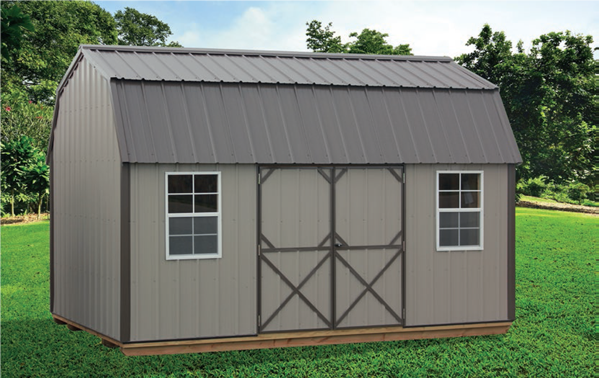 10x16 lofted garden shed with metal siding