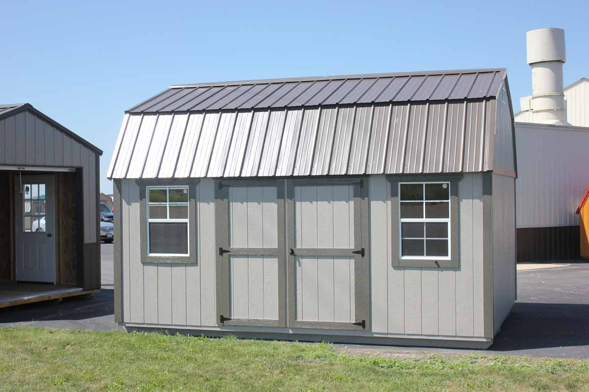 10x16 Lofted garden shed with custom match paint & burnished slate metal roof