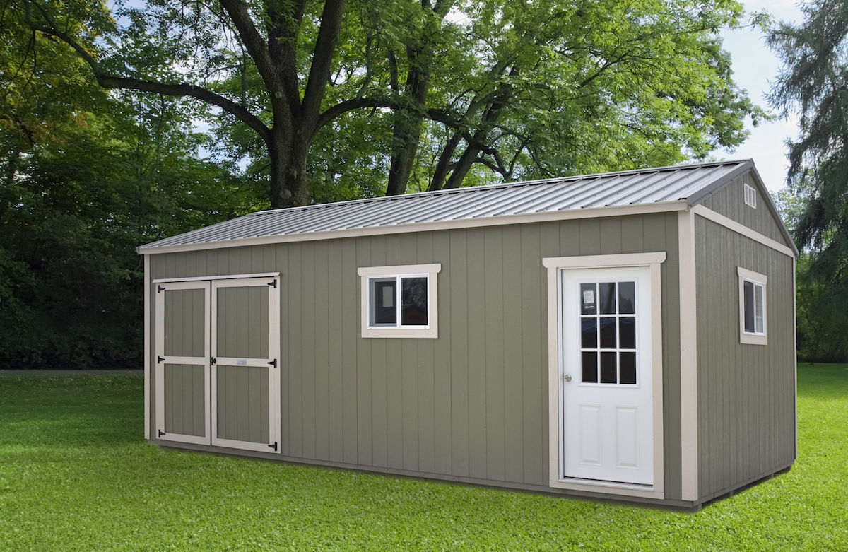 Painted portable building with metal roof, Countryside Barns, Portable Building Manufacturer