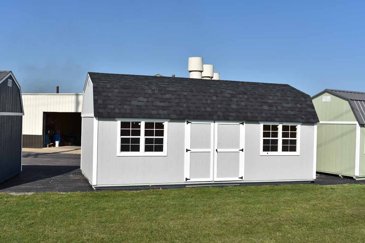 12x24 Lofted garden shed with light gray & white paint and shingles