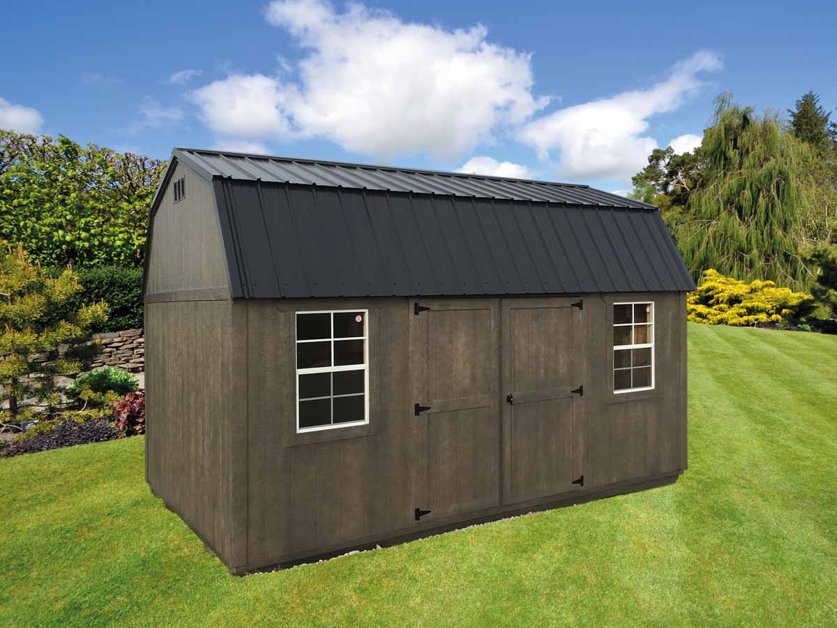 10x16 Lofted garden shed with driftwood urethane and black metal roof