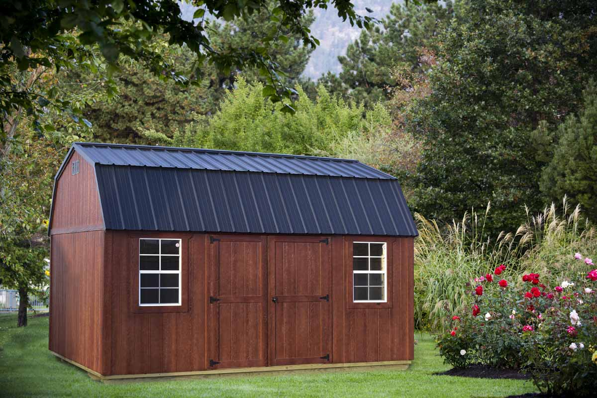 10x16 lofted garden shed with mahogany urethane and black metal roof