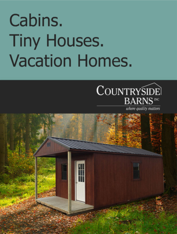 Portable cabin catalog featuring tiny homes, vacations homes, cabins with a porch