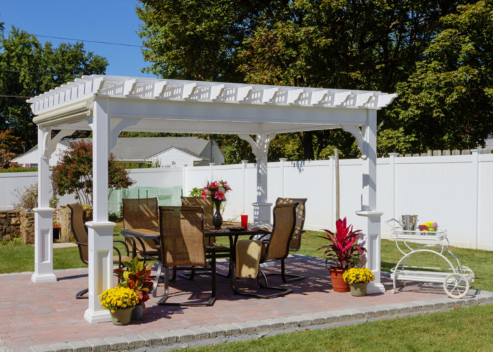 10x12 Traditional White Vinyl Pergola, Superior Post, EZ Shade Side Curtain