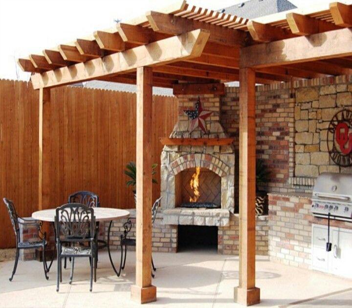 pergola ideas - outdoor fireplace